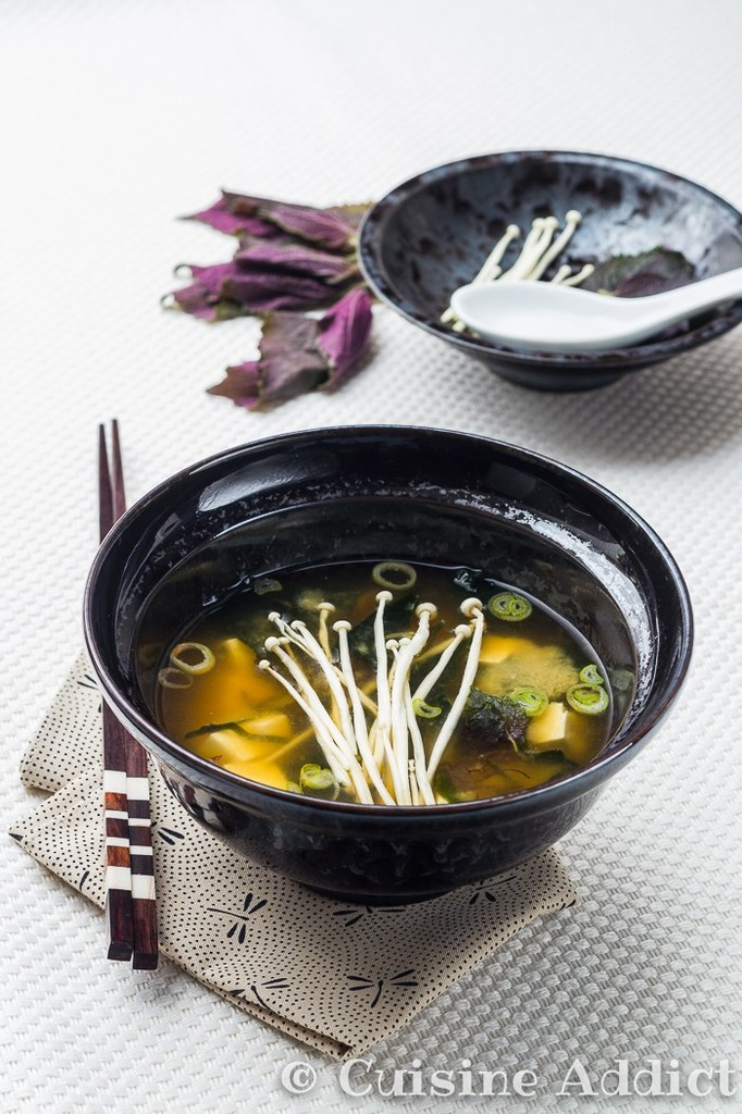 Soupe miso aux champignons enoki cuisine addict - Soupe miso ingredient ...